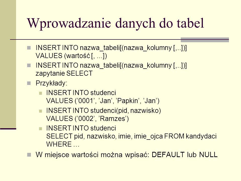Wprowadzanie danych do tabel