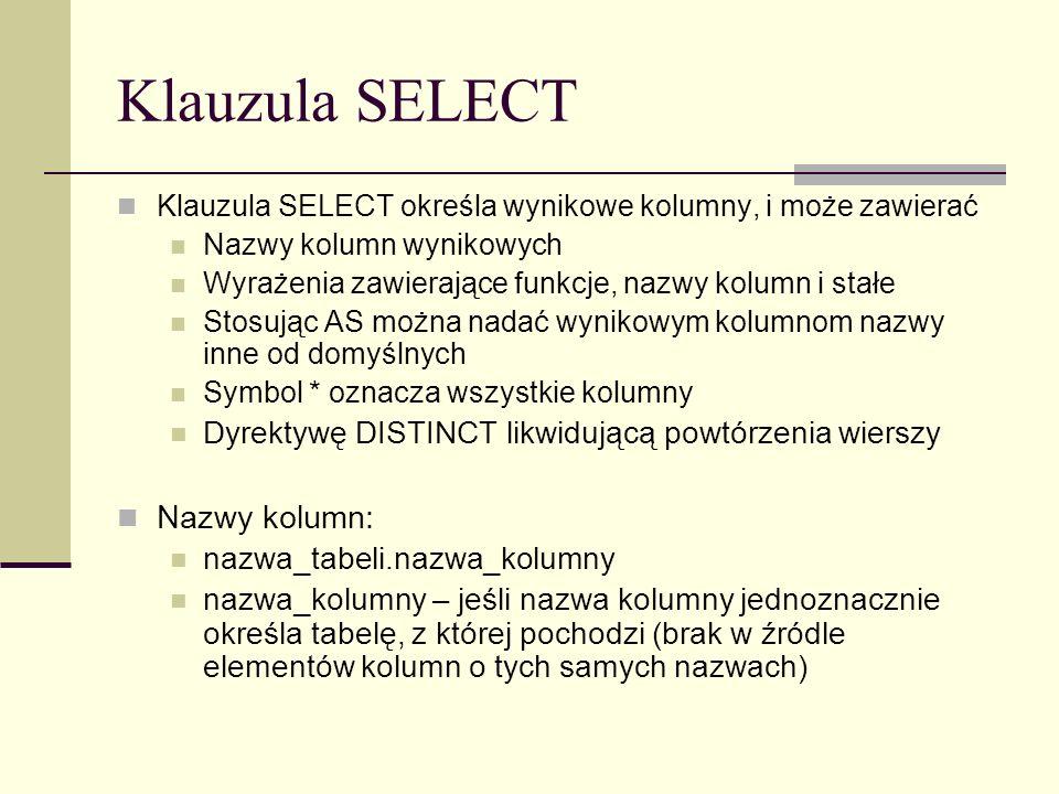 Klauzula SELECT Nazwy kolumn: