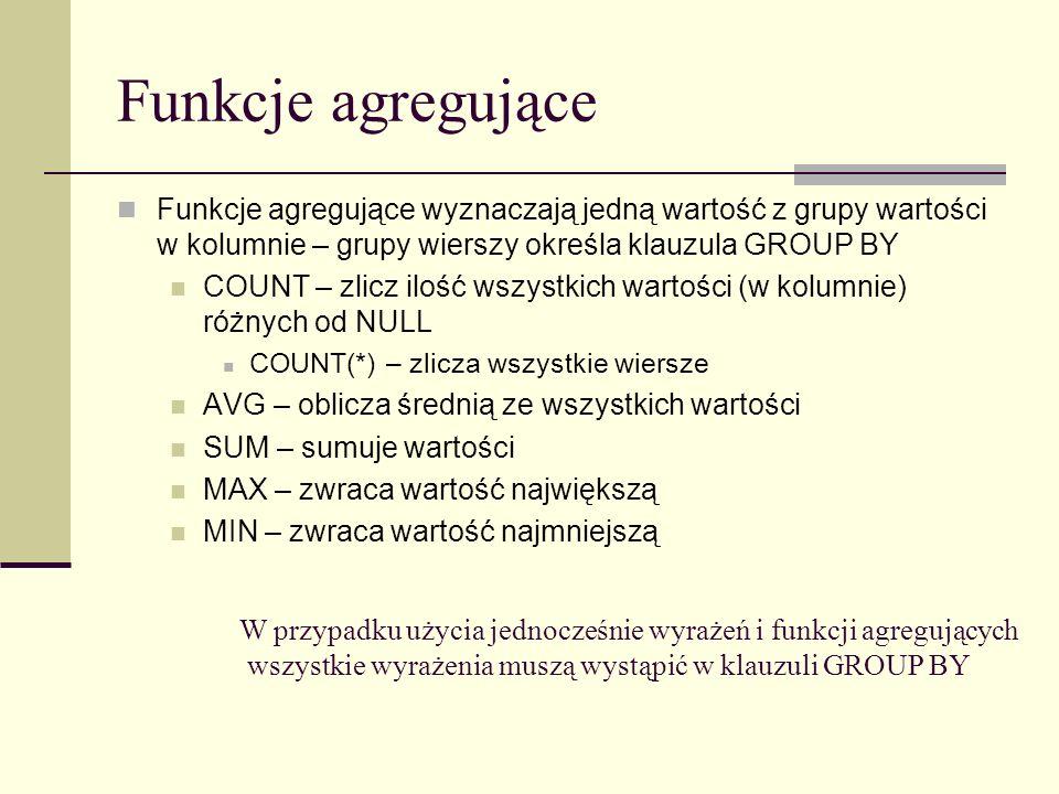 Funkcje agregujące Funkcje agregujące wyznaczają jedną wartość z grupy wartości w kolumnie – grupy wierszy określa klauzula GROUP BY.