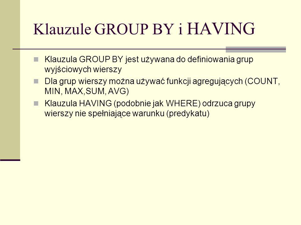 Klauzule GROUP BY i HAVING