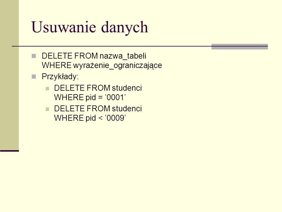 Usuwanie danych DELETE FROM nazwa_tabeli WHERE wyrażenie_ograniczające