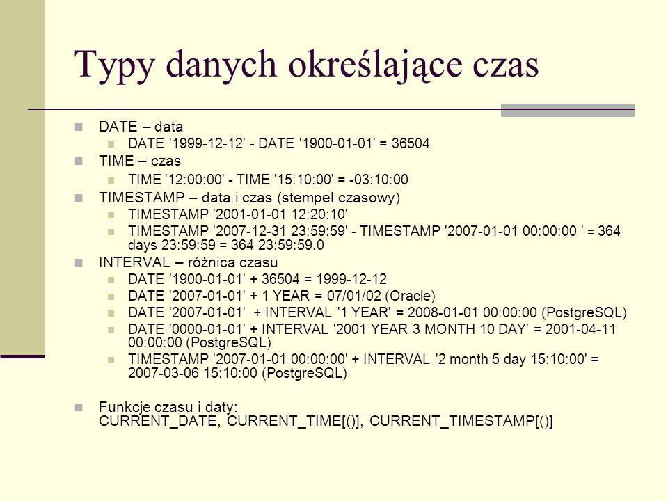 Typy danych określające czas