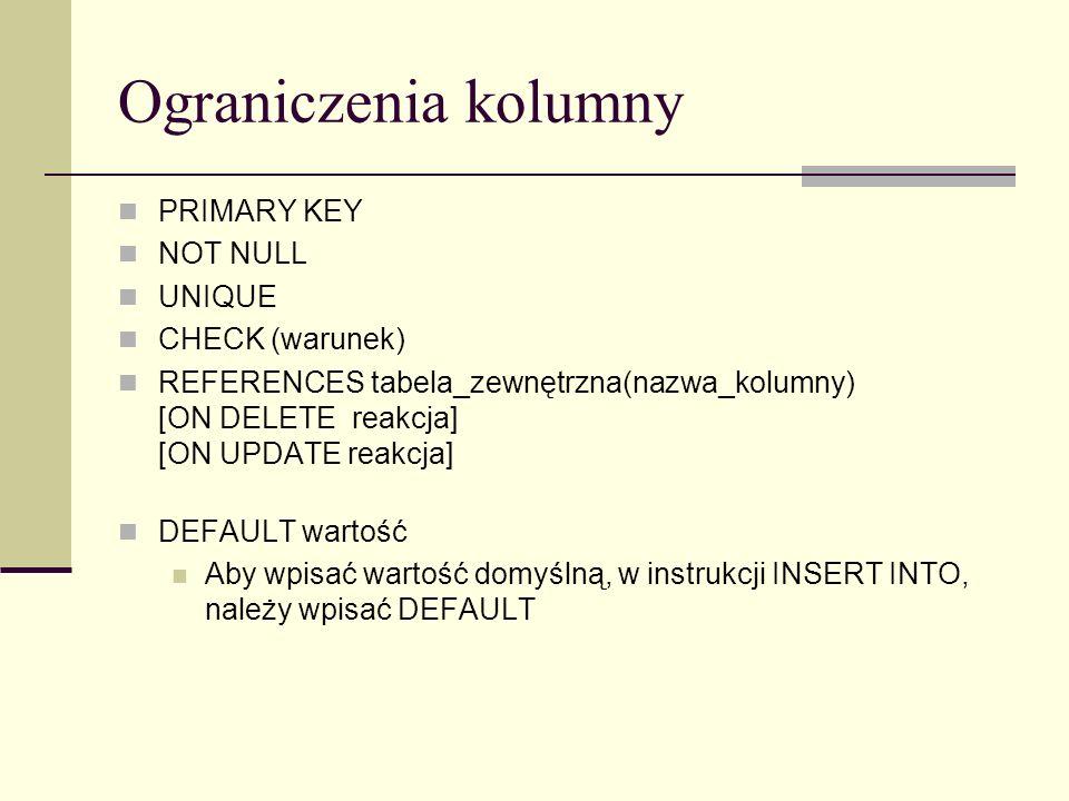 Ograniczenia kolumny PRIMARY KEY NOT NULL UNIQUE CHECK (warunek)