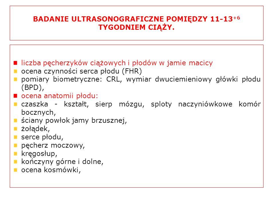 BADANIE ULTRASONOGRAFICZNE POMIĘDZY 11-13+6 TYGODNIEM CIĄŻY.