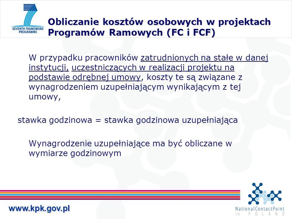 Obliczanie kosztów osobowych w projektach Programów Ramowych (FC i FCF)