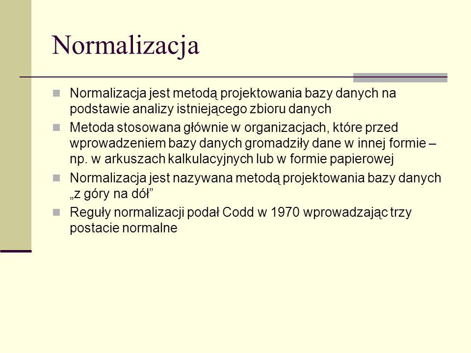 Normalizacja Normalizacja jest metodą projektowania bazy danych na podstawie analizy istniejącego zbioru danych.