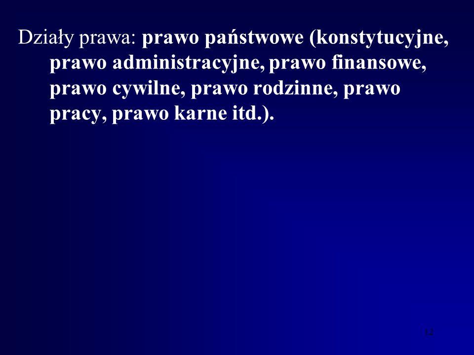 Działy prawa: prawo państwowe (konstytucyjne, prawo administracyjne, prawo finansowe, prawo cywilne, prawo rodzinne, prawo pracy, prawo karne itd.).