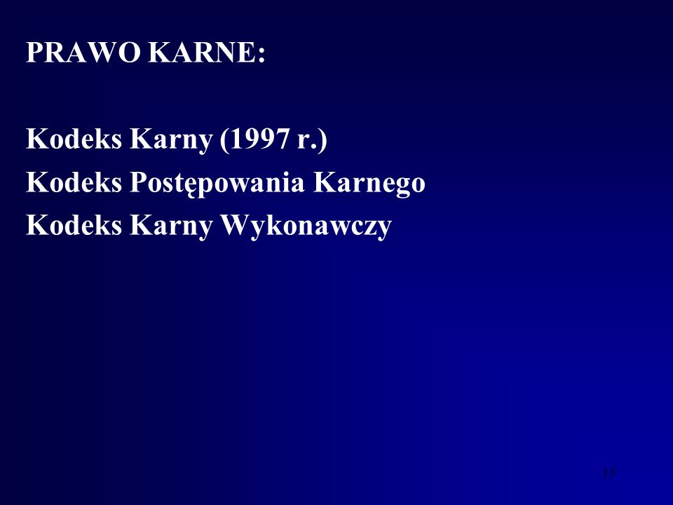 PRAWO KARNE: Kodeks Karny (1997 r.) Kodeks Postępowania Karnego Kodeks Karny Wykonawczy