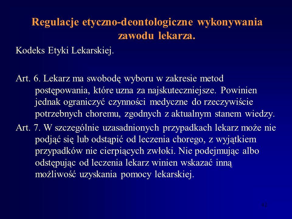 Regulacje etyczno-deontologiczne wykonywania zawodu lekarza.