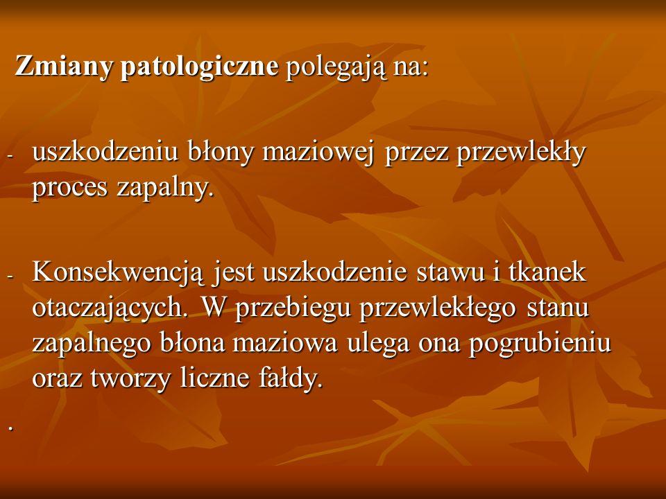 Zmiany patologiczne polegają na: