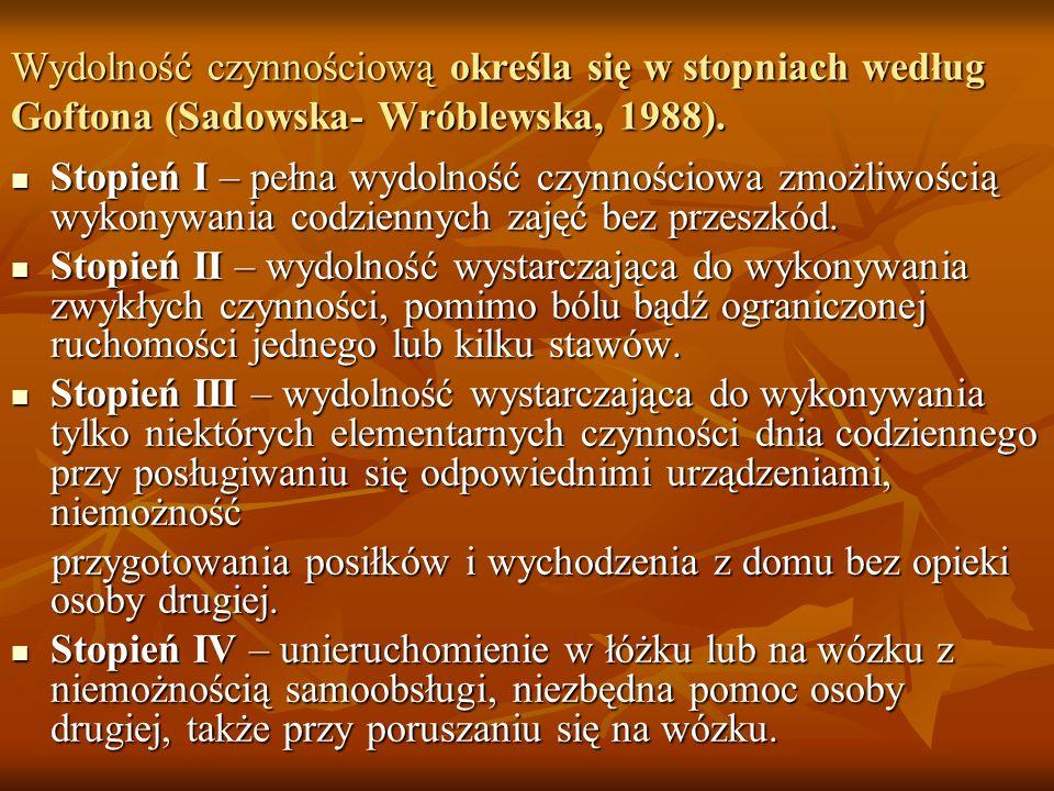 Wydolność czynnościową określa się w stopniach według Goftona (Sadowska- Wróblewska, 1988).