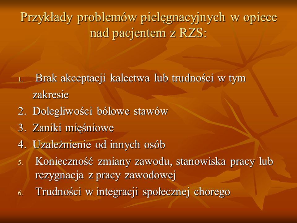Przykłady problemów pielęgnacyjnych w opiece nad pacjentem z RZS: