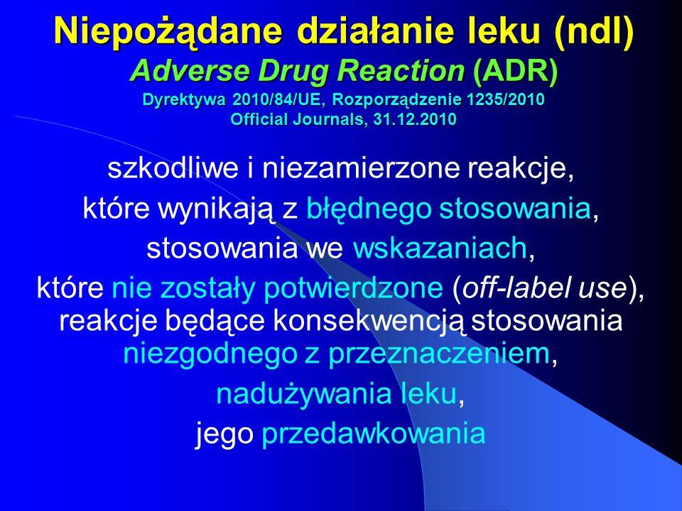 Niepożądane działanie leku (ndl) Adverse Drug Reaction (ADR) Dyrektywa 2010/84/UE, Rozporządzenie 1235/2010 Official Journals, 31.12.2010