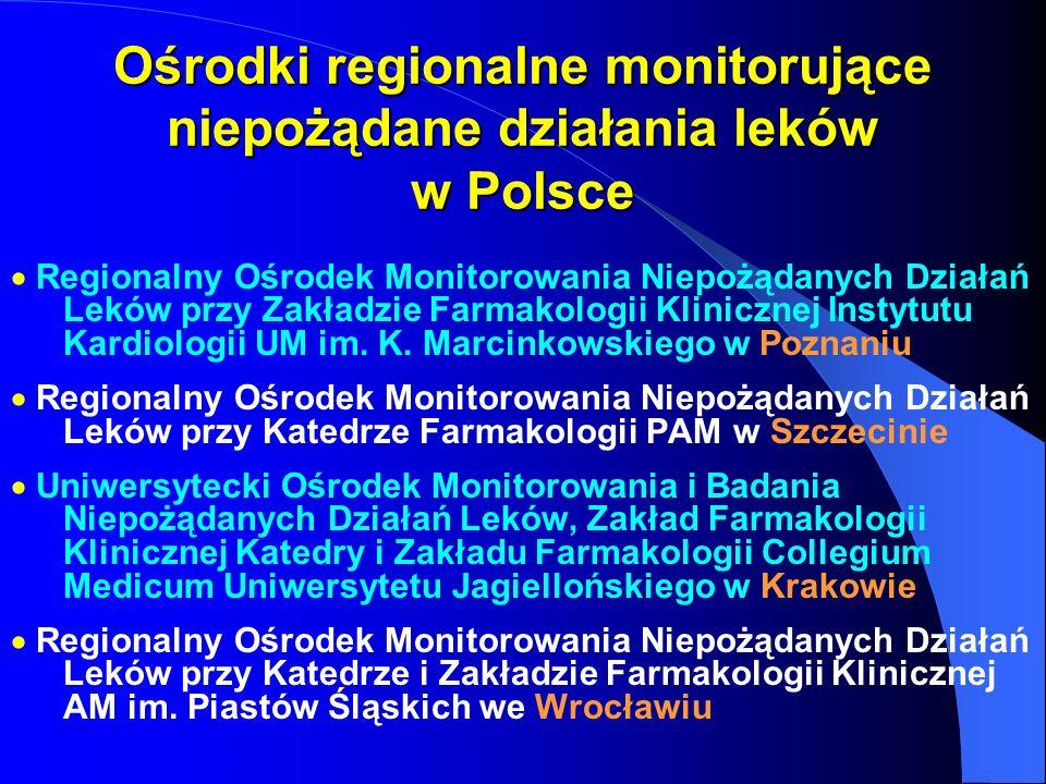 Ośrodki regionalne monitorujące niepożądane działania leków w Polsce