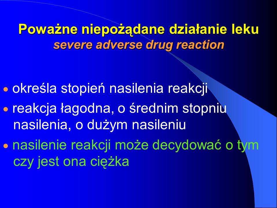 Poważne niepożądane działanie leku severe adverse drug reaction