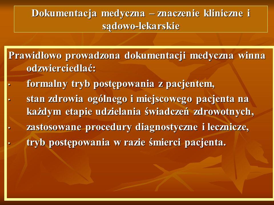 Dokumentacja medyczna – znaczenie kliniczne i sądowo-lekarskie