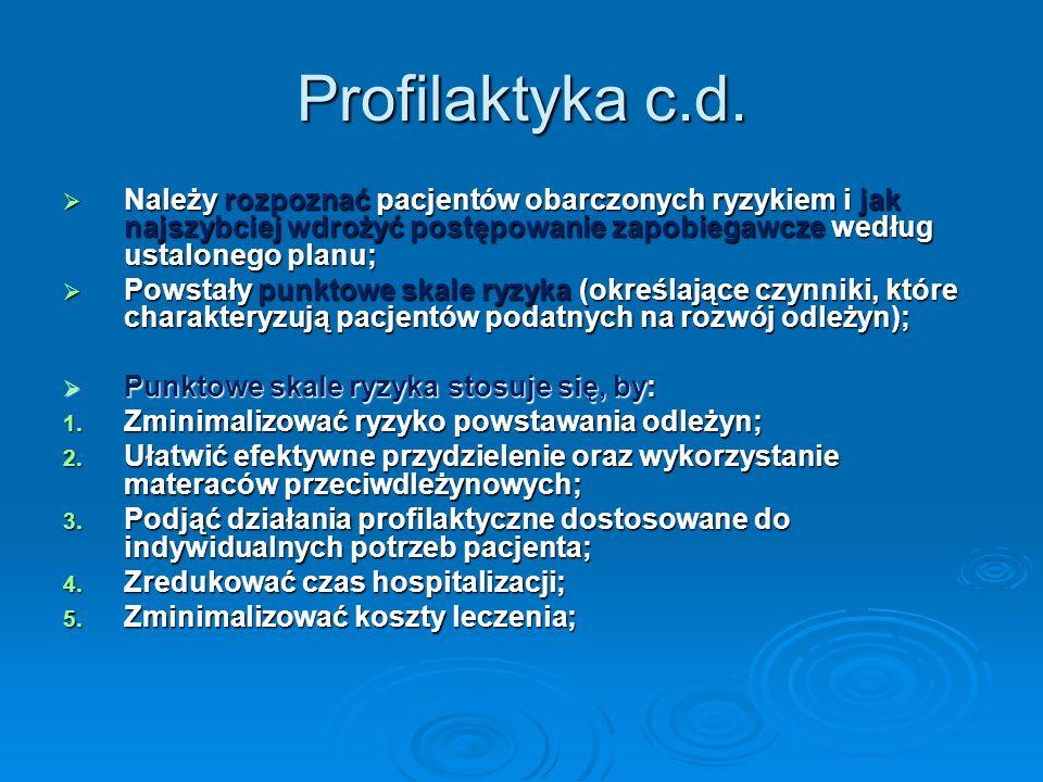 Profilaktyka c.d. Należy rozpoznać pacjentów obarczonych ryzykiem i jak najszybciej wdrożyć postępowanie zapobiegawcze według ustalonego planu;