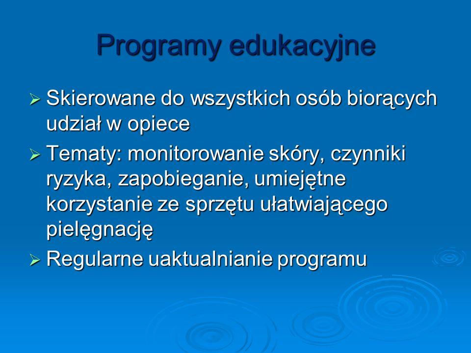 Programy edukacyjne Skierowane do wszystkich osób biorących udział w opiece.