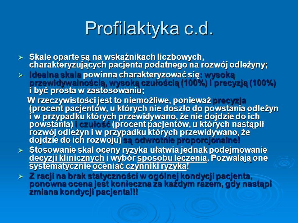 Profilaktyka c.d.Skale oparte są na wskaźnikach liczbowych, charakteryzujących pacjenta podatnego na rozwój odleżyny;