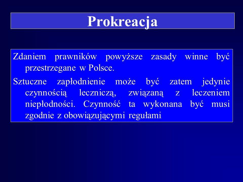 Prokreacja Zdaniem prawników powyższe zasady winne być przestrzegane w Polsce.
