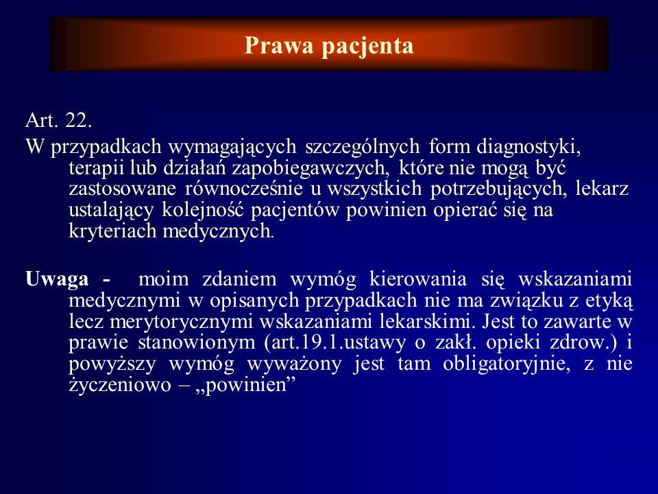 Prawa pacjenta Art. 22.