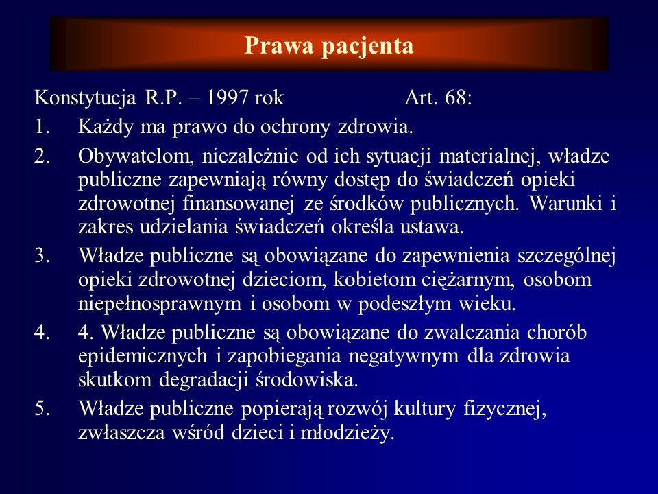 Prawa pacjenta Konstytucja R.P. – 1997 rok Art. 68: