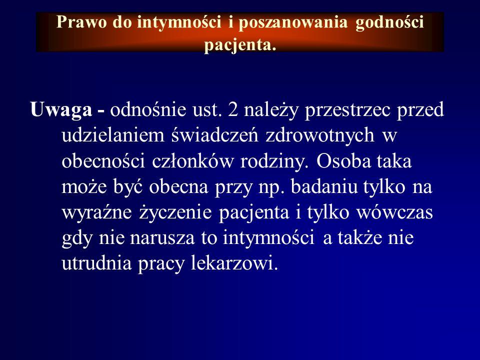 Prawo do intymności i poszanowania godności pacjenta.