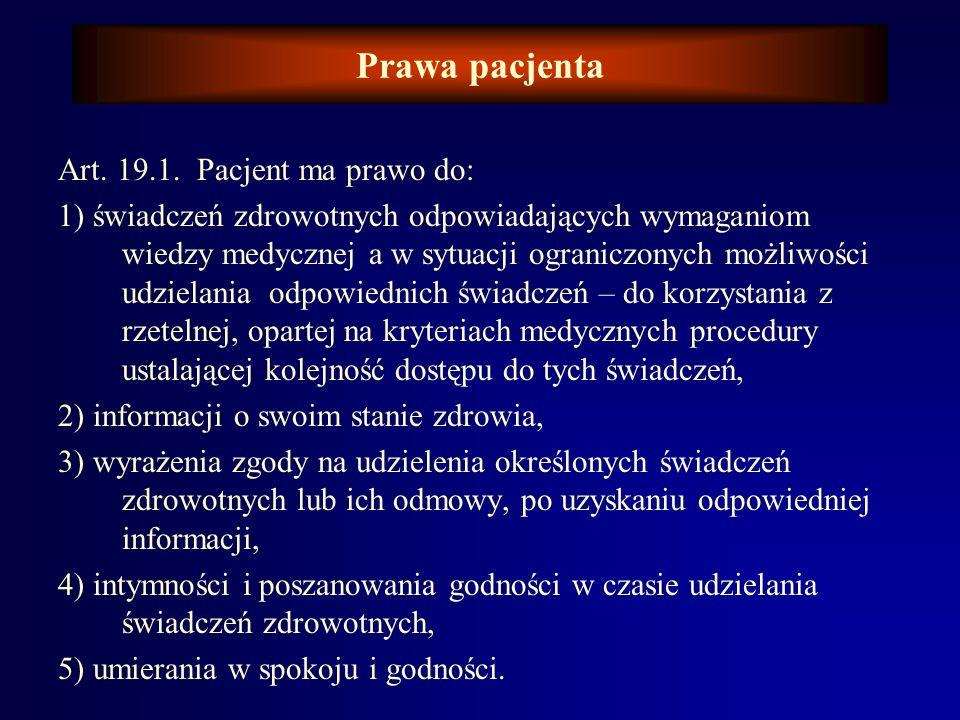 Prawa pacjenta Art. 19.1. Pacjent ma prawo do: