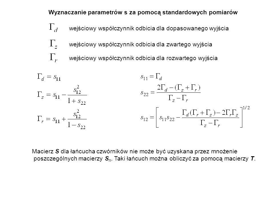 Wyznaczanie parametrów s za pomocą standardowych pomiarów