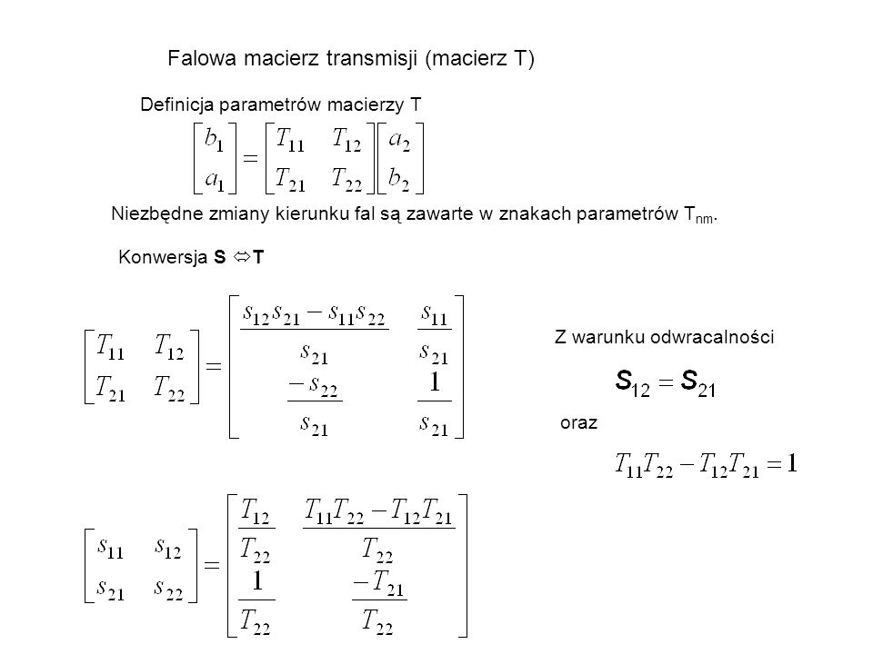 Falowa macierz transmisji (macierz T)