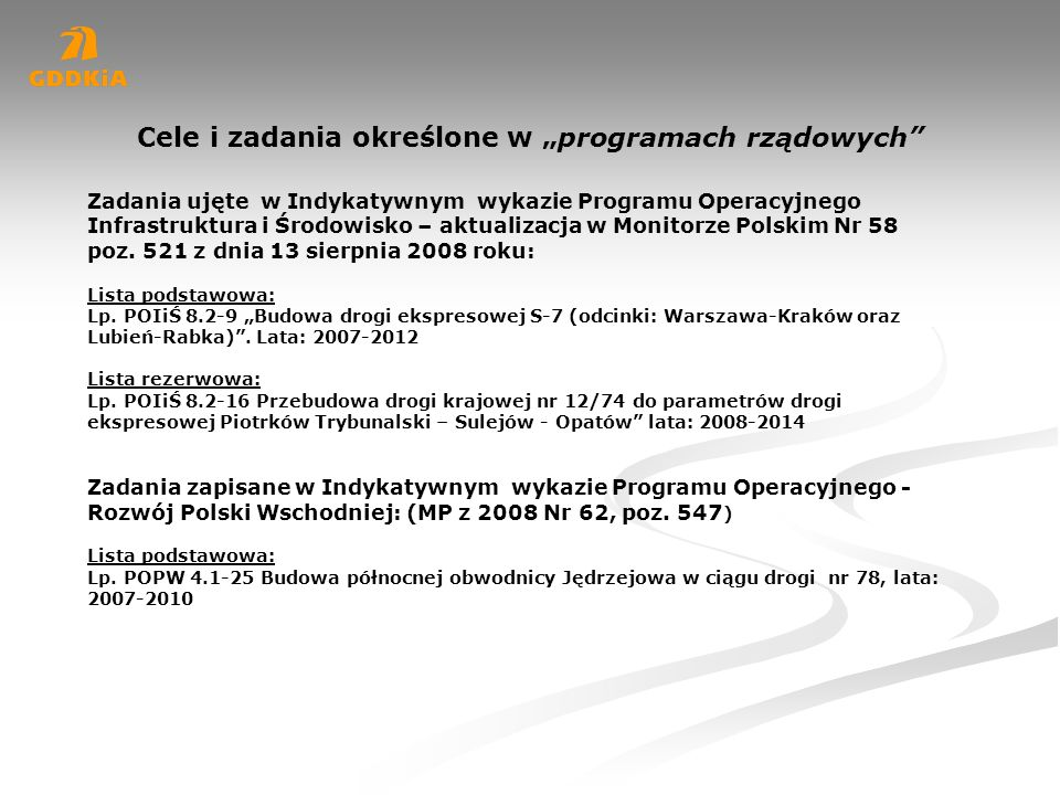 """Cele i zadania określone w """"programach rządowych"""