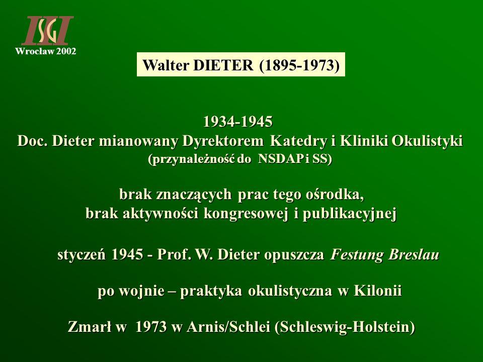 Doc. Dieter mianowany Dyrektorem Katedry i Kliniki Okulistyki