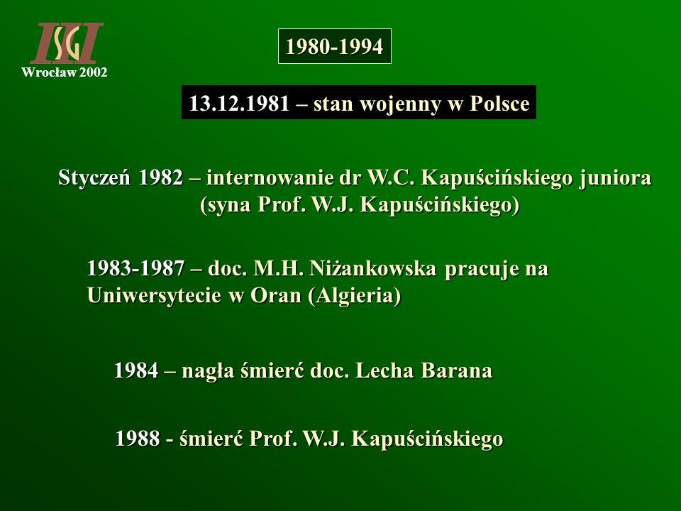 1980-1994 13.12.1981 – stan wojenny w Polsce. Styczeń 1982 – internowanie dr W.C. Kapuścińskiego juniora.