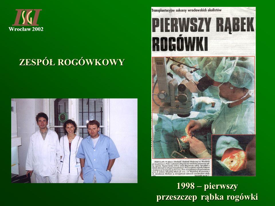 1998 – pierwszy przeszczep rąbka rogówki