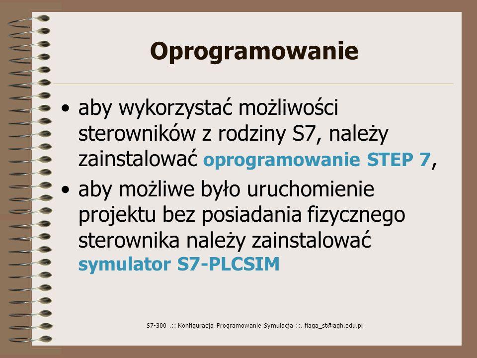 Oprogramowanie aby wykorzystać możliwości sterowników z rodziny S7, należy zainstalować oprogramowanie STEP 7,