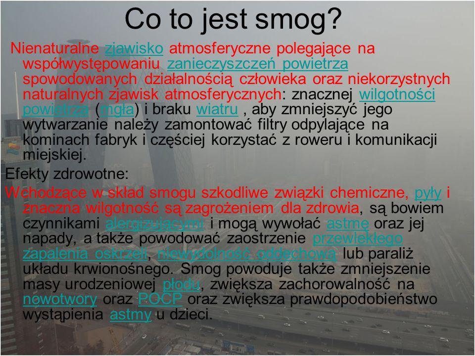 Co to jest smog Efekty zdrowotne:
