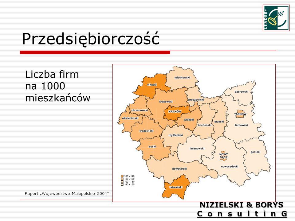 Przedsiębiorczość Liczba firm na 1000 mieszkańców NIZIELSKI & BORYS
