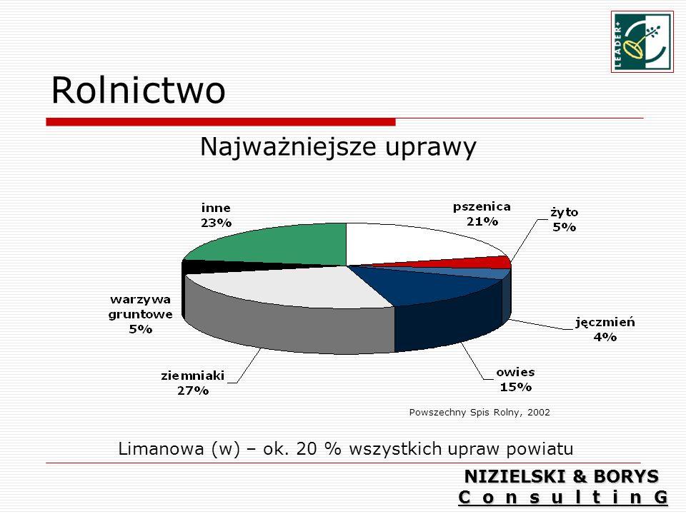 Limanowa (w) – ok. 20 % wszystkich upraw powiatu