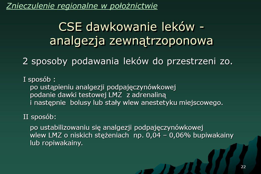 CSE dawkowanie leków - analgezja zewnątrzoponowa