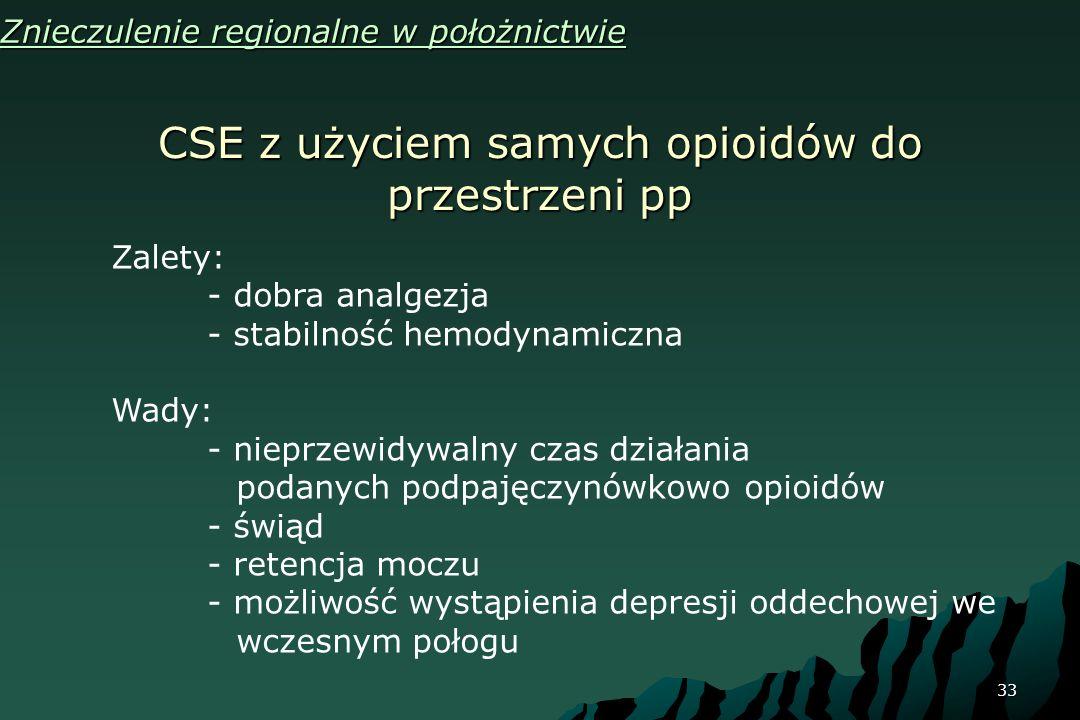 CSE z użyciem samych opioidów do przestrzeni pp