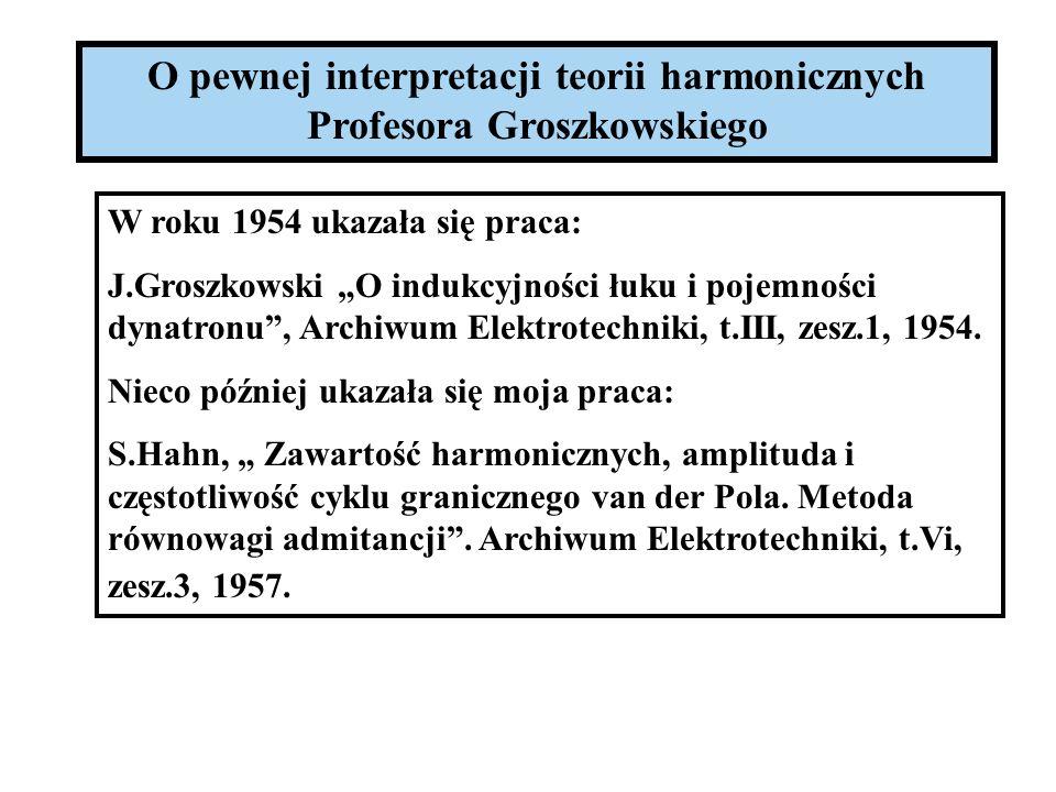 O pewnej interpretacji teorii harmonicznych Profesora Groszkowskiego