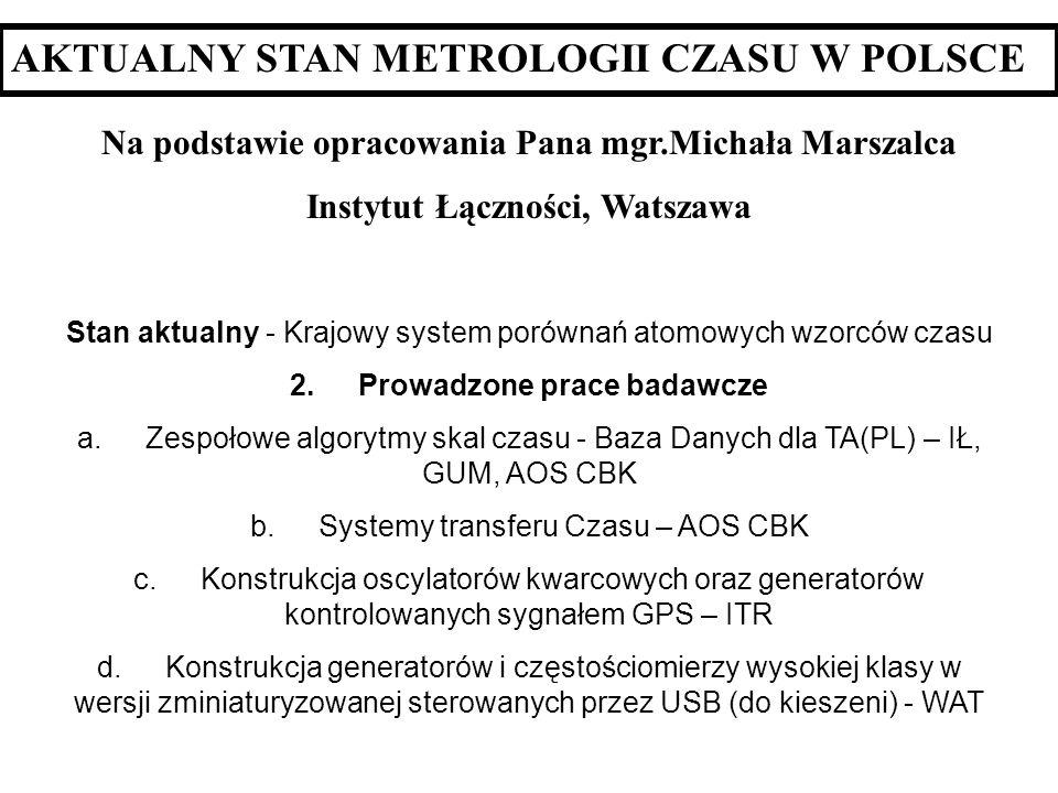 AKTUALNY STAN METROLOGII CZASU W POLSCE
