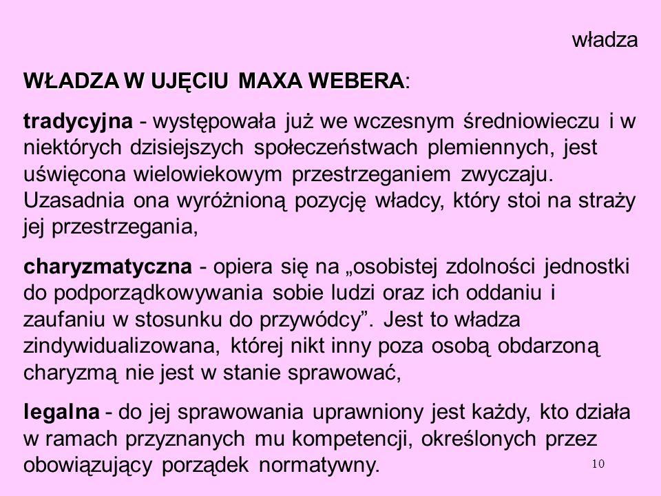 władza WŁADZA W UJĘCIU MAXA WEBERA: