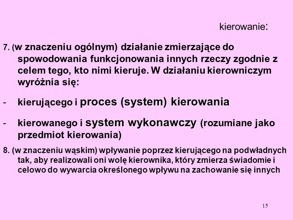 kierującego i proces (system) kierowania
