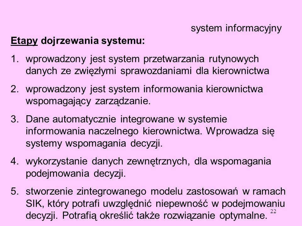 system informacyjny Etapy dojrzewania systemu: wprowadzony jest system przetwarzania rutynowych danych ze zwięzłymi sprawozdaniami dla kierownictwa.
