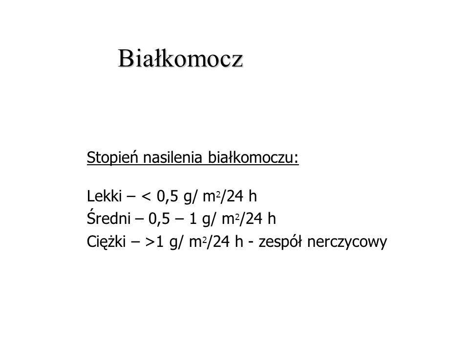 Białkomocz Stopień nasilenia białkomoczu: Lekki – < 0,5 g/ m2/24 h