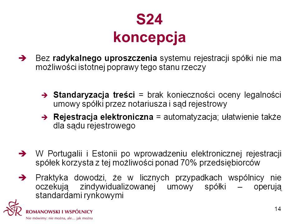 S24 koncepcja Bez radykalnego uproszczenia systemu rejestracji spółki nie ma możliwości istotnej poprawy tego stanu rzeczy.