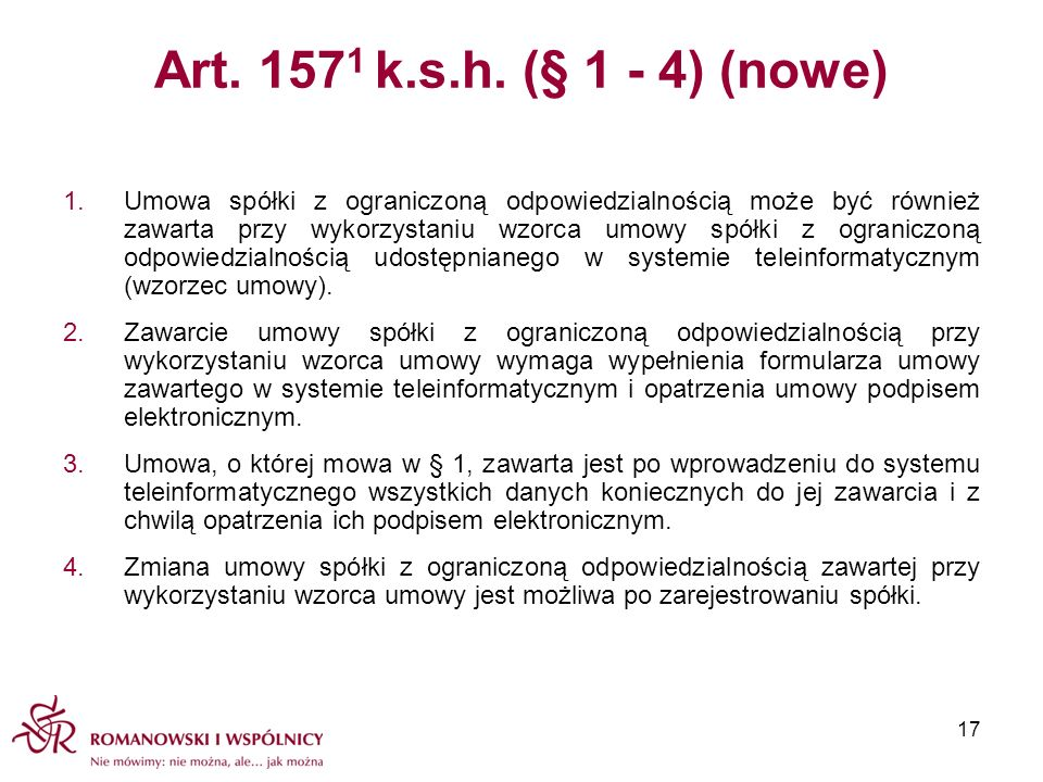 Art. 1571 k.s.h. (§ 1 - 4) (nowe)