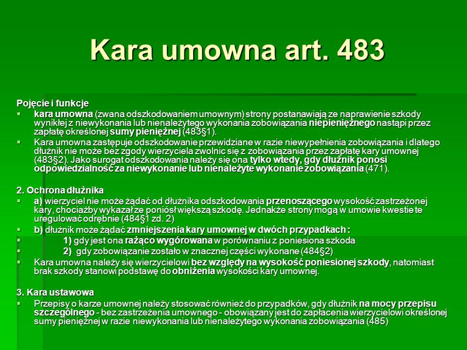 Kara umowna art. 483 Pojęcie i funkcje