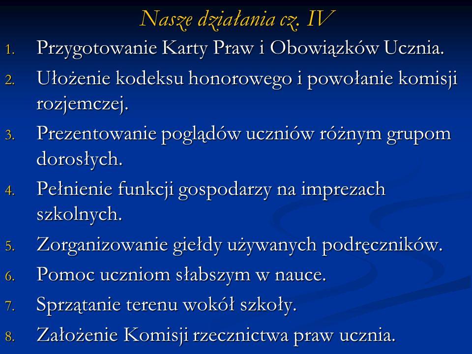 Nasze działania cz. IV Przygotowanie Karty Praw i Obowiązków Ucznia.